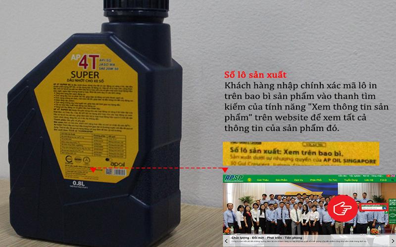 truy xuất nguồn gốc dầu nhớt apsp bằng nhập mã lô tân hoa mai
